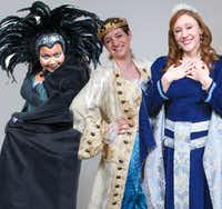 (from l-r) Octavia Y Thomas, Edna Gill and Amanda Bridges perform in 'The Sleeping Beauty,' a holiday panto, presented by Theatre Britain at the Cox Building Playhouse in Plano Nov. 26-Dec. 30, 2016.(Mark Trew)