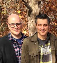 """<p><span style=""""font-size: 1em; background-color: transparent;"""">From left, Brandon Potter and Jeffrey Schmidt perform in the new Dallas-based audio drama, '</span><em style=""""font-size: 1em; background-color: transparent;"""">Terms</em><span style=""""font-size: 1em; background-color: transparent;"""">.' Potter plays the controversial president-elect, while Schmidt voices the part of the incumbent president. (Courtesy of Karen Almond)</span></p>"""
