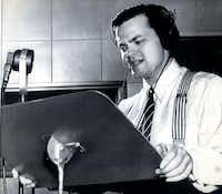 Orson Welles delivering his famous radio broadcast of 'The War of The Worlds' in 1930 (The Dallas Morning News Archives)