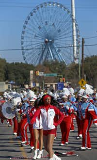 Members of the Dallas Carter Band performed during the MLK Day parade near Fair Park in Dallas in January. (File Photo/Jae S. Lee)