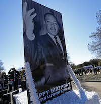 A float carrying a photo of the Rev. Martin Luther King Jr. arrived at Fair Park after the annual MLK Day parade in January. (File Photo/Jae S. Lee)