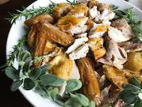 Carved dry-brined roast turkey(Leslie Brenner/Staff)