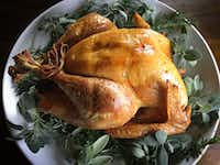 Dry-brined roasted turkey(Leslie Brenner/Staff)