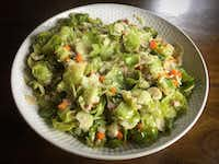 "Brussels sprouts leaves with pancetta and mirepoix, from a recipe adapted from ""Chez Panisse Cooking"" by Paul Bertolli with Alice Waters. (Leslie Brenner/Staff)"