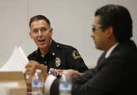 Deputy Police Chief Rob Sherwin, talking to Dallas County Criminal Court Judge Roberto Canas in 2014, took the helm at Dallas Animal Services two months ago. (File Photo/Vernon Bryant)