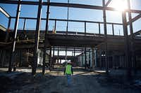 Memorial High School under construction in Frisco ISD will sit vacant for the 2017-18 school year to help the district save money.(G.J. McCarthy/Staff Photographer)