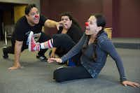 Actors Shawn Dann (left), Pricilla Rice (center), and Frida Espinosa Muller (CQ) (right), rehearse a scene from <i>La Nuestra Pastorela</i>  Nov. 6.  (Allison Slomowitz/Special Contributor)