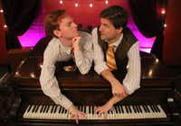 (from l-r) Mark Schenfisch and Teddy Warren co-star in 'Murder for Two,' a two-person musical murder mystery presented by Stage West in Fort Worth Nov. 17-Dec. 18, 2016.