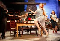 Jacie Hood Wenzel (Christine Mundy) and Lorna Woodford (Agnew Mundy), far-right, dance around a table with other actors during a dress rehearsal for Dancing at Lughnasa, on Wednesday, Sept. 07, 2016 at the Contemporary Theatre of Dallas in Dallas.(Ben Torres/Special Contributor)