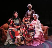 Abigail Palmgren (far left), Cindee Mayfield (center) and Connie Coit act out a scene from Day Light at Theatre Three in Dallas.(Rose Baca/Staff Photographer)