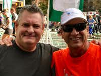 Brad Gamble (left) and his friend and running partner Patrick Pownell after the New York City Marathon. Around Mile 13, Pownell looked and couldn't find his friend. Turns out Gamble was having a tough race. Pownell was having a good one, but he wasn't about to leave his friend.(Dawn Pownell)