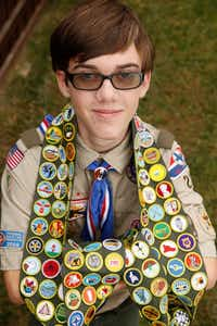 Caleb Biddulph of Frisco has earned all available merit badges offered through the Boy Scouts of America.(Nathan Hunsinger/Staff Photographer)