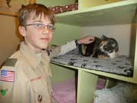 In 2013, Caleb became an Eagle Scout after completing a project in the cat room at the SPCA of Texas in McKinney.