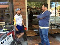 Chris Andrews (left) talked with Mike Goldfuss, owner of Collective Brewing Project in Fort Worth, during Andrews' Let's Talk visit to the Bishop Arts District in Dallas on Monday.((Brendan Meyer/Staff))