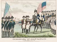 """<p><span style=""""font-size: 1em; background-color: transparent;"""">A Currier & Ives print from about 1846 shows """"Surrender of Cornwallis: at Yorktown Va. Oct. 1781."""" British General Charles O'Hara, surrounded by French and American soldiers, is handing his sword to Gen. Benjamin Lincoln.</span></p>((Library of Congress))"""