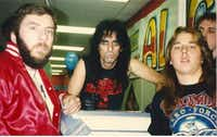In 1987, when he was a teenager in San Antonio, Chris Penn, in the Aerosmith shirt, met Alice Cooper at a Sound Warehouse grand opening.((Courtesy Chris Penn))
