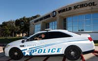 Euless Police officer Eric Fieilo works in the same city he grew up in.  (David Woo/The Dallas Morning News)