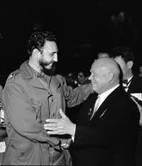 Soviet Premier Nikita Khrushchev embraced Fidel Castro on the floor of the U.N. General Assembly in September 1960.(New York Times)