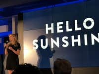 Actress Reese Witherspoon made a surprise appearance to talk about Hello Sunshine, a production company that will make female-driven TV shows, films and podcasts.(Melissa Repko/The Dallas Morning News)