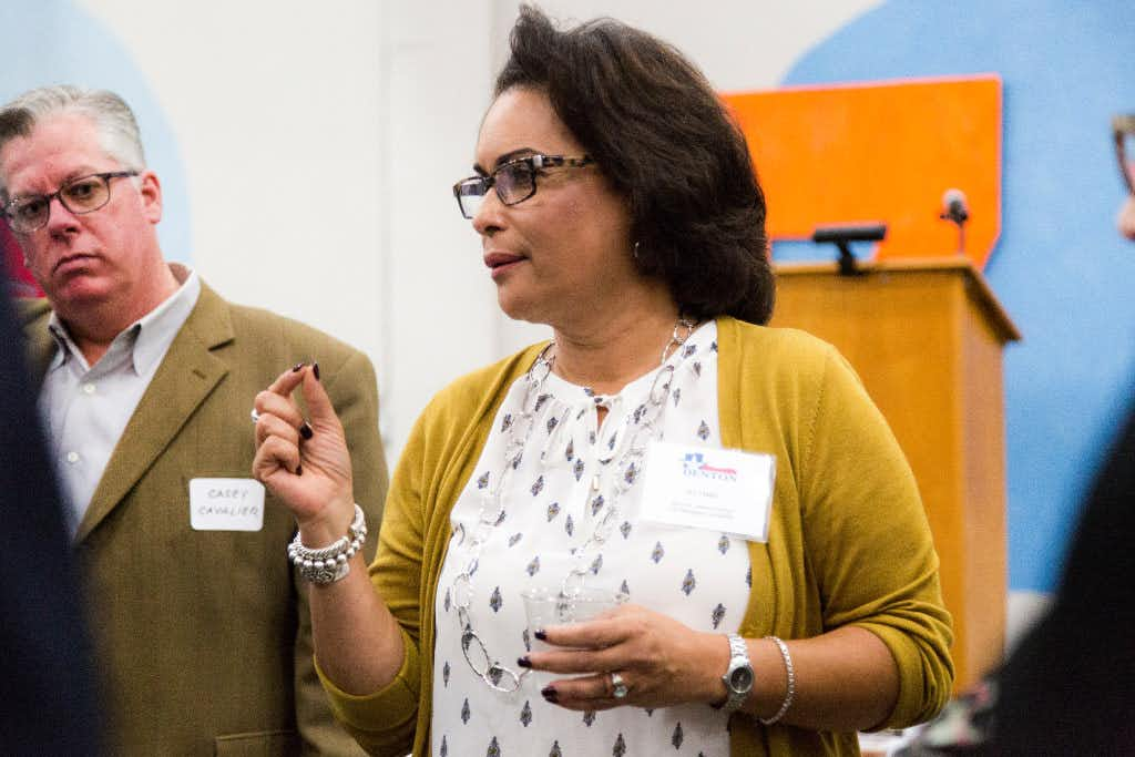 Jelynne LeBlanc-Burley spoke to a group of people during a city manager candidate reception this month. (Tomas Gonzalez/Denton Record-Chronicle)