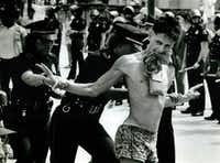 One of the 96 protesters arrested outside Dallas City Hall on Aug. 22, 1984, during the Republican National Convention.((File Photo))