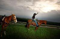 """<div>B.J. Brantley was known as the """"Interstate Cowboy"""" to many folks who saw him daily, sitting atop a horse and waving to traffic, at the I-45/I-20 interchange in southern Dallas. I met him in 2009 and loved getting to know him, and why he did this odd thing every day. """"It done turned into a full-blown mission,"""" he told me. """"When I see a kid's face light up, that makes me day."""" Mr. Brantley passed away this year at 73.</div>(G.J. McCarthy/Staff Photographer)"""