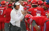 SMU head coach Chad Morris has told his players he'll remain their leader. (Louis DeLuca/The Dallas Morning News)