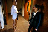 NEA chairman Jane Chu talks to Dallas Black Dance Theatre dancer DeAnthony Vaughan after a performance in Dallas. (Nathan Hunsinger/The Dallas Morning News)
