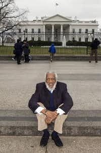 Comedian, civil rights activist and health food advocate Dick Gregory, shown outside the White House in March 2009. (Stephen Crowley/The New York Times)
