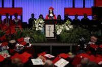 Valedictorian Larissa Yanin Martinez delivers a speech during the McKinney Boyd High School Commencement ceremony at Prestonwood Baptist Church on Friday, June 3, 2016, in Plano, Texas. (Jae S. Lee/The Dallas Morning News)(Staff Photographer)