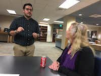 "<p></p><p><span style=""font-size: 1em; background-color: transparent;""><p>Cristian Sánchez (left) a third-year law student at the University of Texas at Austin, speaks with Claire Bow during a meeting of the <span style=""font-size: 1em; line-height: 1.364; background-color: transparent;"">Trans Name and Gender Marker Project </span><span style=""font-size: 1em; line-height: 1.364; background-color: transparent;"">at the Travis County Law Library. Sánchez is the pro bono scholar heading up the project. Bow is a former assistant attorney general assisting on the project.<p><br></p></span></p></span></p>((Lauren McGaughy/Staff))"