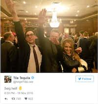 An image from the National Policy Institute party at Maggiano's Little Italy on Nov. 12 in Washington, D.C.(Twitter screenshot)
