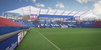 This rendering shows the resigned south end from inside Toyota Stadium in Frisco.