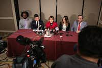 Attorney Gloria Allred led a news conference at the Adolphus Hotel in Dallas on Thursday with attorney Larry Taylor (left), clients Tim and Claire Gautreaux and attorney Blake Beckham. (Rose Baca/Staff Photographer)