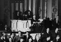 In this Dec. 8, 1941 file photo, President Franklin Roosevelt speaks to a joint session of Congress in Washington after the Japanese attack on Pearl Harbor, Hawaii. (AP Photo)(AP)
