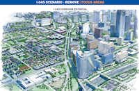<p>Proposal for removal of Interstate 345, which connects US Highway 75 and Interstate 45 on the east of downtown Dallas.</p>