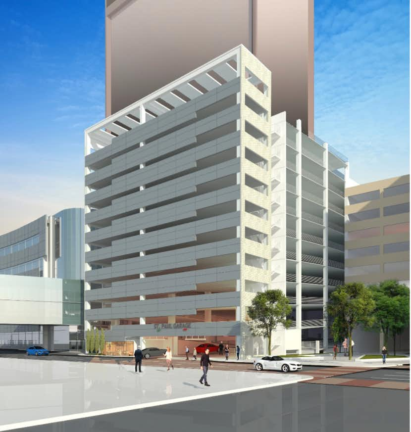 The 10-story garage will be built at St. Paul and Federal streets.Fortis