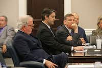 Defense attorneys Andy Savage, left, Don McCune, and Miller Shealy, right, sit around former North Charleston police officer Michael Slager at theCharleston County court in Charleston, S.C., Monday, Dec. 5, 2016. Judge Clifton Newman declared a mistrial after the jury was unable to reach a verdict. Slager was accused of shooting and killing Walter Scott, an unarmed black man during a traffic stop in April 2015. (Photo by Grace Beahm - Pool/Getty Images)(Getty Images)