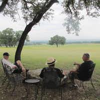 At Pedernales Cellars, guests enjoy wine with a view of the Pedernales River Valley in Stonewall, Texas(Tina Danze)