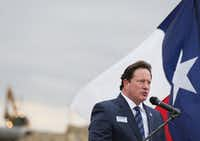 McKinney ISD Superintendent Rick McDaniel speaks during the groundbreaking ceremony for McKinney ISD Stadium and Community Event Center. (Andy Jacobsohn/The Dallas Morning News)