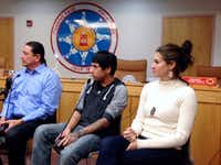Standing Rock Sioux Chairman Dave Archambault (left), tribal youth Garrett Hairychin and actress Shailene Woodley participate in a meeting of tribal officials and celebrities in Fort Yates, N.D., to discuss efforts to halt construction of the Dakota Access Pipeline. (James MacPherson/The Associated Press)