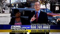 Brian Loncar, a.k.a. The Strong Arm, advertised his legal services.(YouTube)
