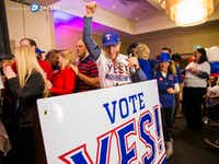 Campaign co-chair Kelly Curnutt and other supporters of a proposed new stadium for the Texas Rangers celebrate after early voting gave them an advantage on Tuesday, November 8, 2016 at the Hilton Arlington in Arlington, Texas.  (Ashley Landis/The Dallas Morning News) (Staff Photographer)