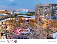 An artist's rendering shows the planned Texas Live! plaza adjacent to a new Rangers Ballpark (left). (illustration by The Cordish Companies)(copied by Staff Photographer/Tom)