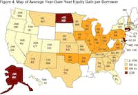States with the biggest third-quarter gain in home equity.(CoreLogic)
