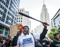 Ernest Walker and other protesters marched through downtown Dallas during the Black Lives Matter march on July 7.(Ashley Landis)