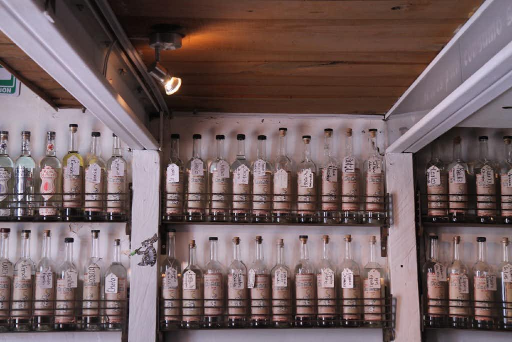 A selection of agave spirits lining the walls of In Situ, a mezcaleria in Oaxaca(Meredith Bethune)