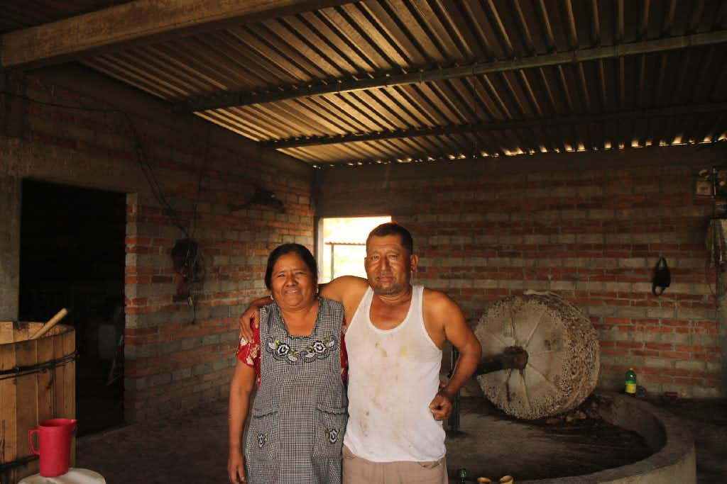 Manuel Mendez and his wife at his pelenque in the village of San Dionisio Ocotepec(Meredith Bethune)