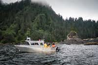 The majestic Pacific Northwest provides the backdrop for fishing excursions at Waterfall Resort.(Michael Hiller)