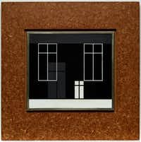 Josef Albers, 'Walls and Screens,' c. 1928, sandblasted opaque red flashed glass with black glass paint (with pressed wood frame), (Courtesy of Dallas Museum of Art, Foundation for the Arts Collection, bequest of James Howard Clark, Jr. 2016.30.2.FA Front; pre-conservation)